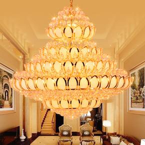 复式楼客厅大吊灯佛堂酒店工程水晶灯 欧式别墅寺庙大厅豪华吊灯
