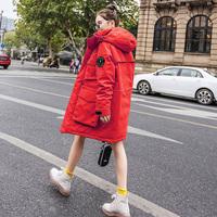 棉服女2018新款韩版中长款宽松加厚工装棉袄冬天时尚bf外套面包服