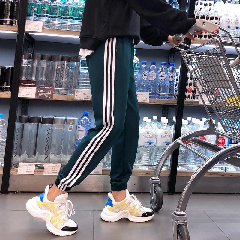 加绒运动裤女秋冬季2018新款学生韩版宽松束脚加厚休闲哈伦裤卫裤