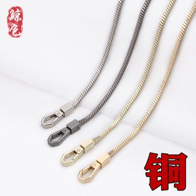 女士包包带子 单肩包配件金色链条铜链条斜挎包带子金属包蛇骨链
