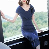 2018夏装新款时尚短袖连衣裙女中长款V领修身名媛晚礼包臀裙女装