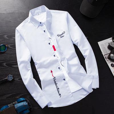 春季白色长袖衬衫男士韩版修身青少年春装男生休闲衬衣潮男装寸衫