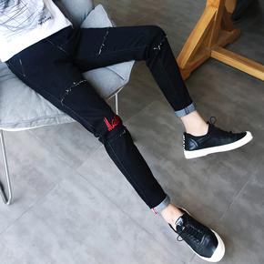 夏季黑色九分牛仔裤男士韩版修身青少年破洞9分小脚裤潮男装裤子
