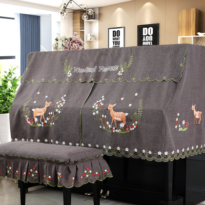韩版布艺钢琴罩全罩加厚琴凳罩半罩时尚卡通刺绣钢琴套盖巾送围裙有假货吗