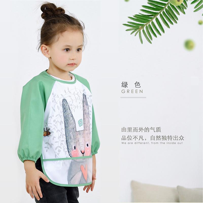 宝宝吃饭罩衣婴儿围兜防水防脏秋冬儿童反穿衣长袖护衣画画小围裙