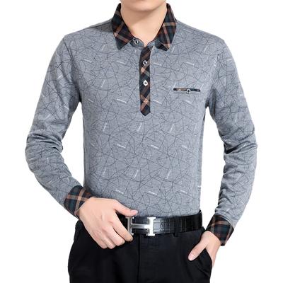 中年男式春秋薄款翻领长袖T恤衫 爸爸装条纹真口袋上衣老年春秋衫