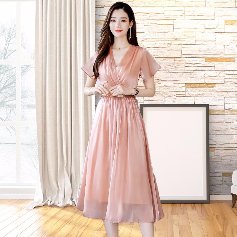 很仙的雪纺连衣裙2019夏季新款流行穿搭女装气质显瘦收腰裙子潮