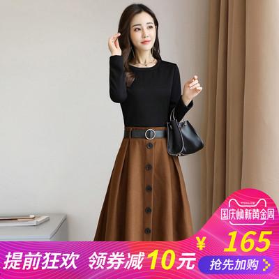2018春秋装新款女装时尚韩版两件套秋季套装套裙长袖淑女连衣裙子