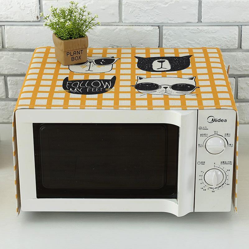 加厚棉麻微波炉盖巾格兰仕美的微波炉罩布艺防尘罩烤箱防油套盖布