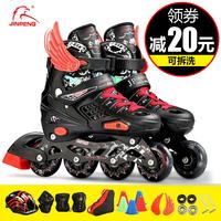 教练推荐溜冰鞋儿童全套装男女旱冰轮滑鞋直排轮可调初学者可拆洗