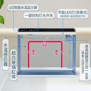 森森超白玻璃小鱼缸客厅 小型桌面家用水族箱 生态免换水金鱼缸