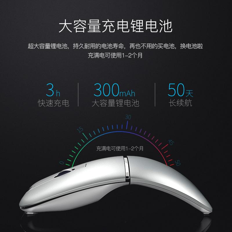 精亚可折叠充电式无线鼠标超薄无声静音男女生笔记本台式办公鼠标光电家用便携创意锂电池滑鼠2.4G/蓝牙双模