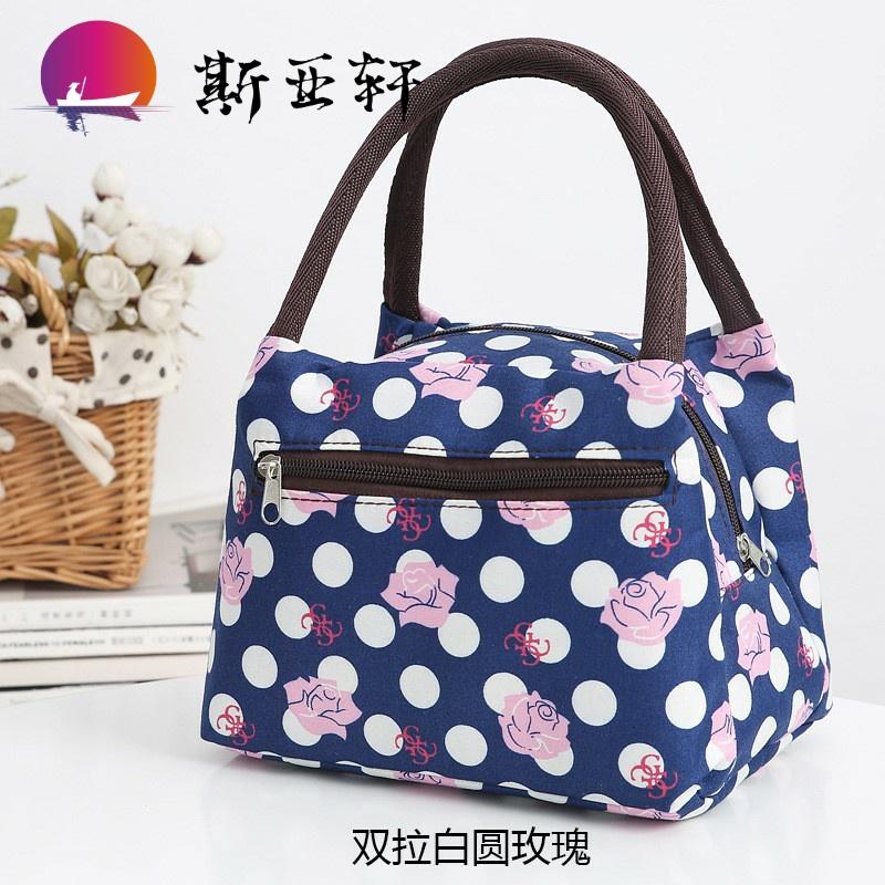 手提化妆包 手拎 时尚 便携布的包女包午餐包饭盒袋小布包手拎包