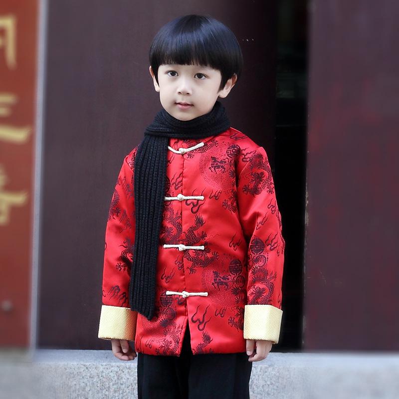 过年喜庆宝宝装冬男童2017新儿童中国风汉服双龙戏珠唐装加厚11岁