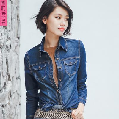 牛仔衬衫女修身弹力春装新款学生韩版外套百搭长袖牛仔衣薄外套潮