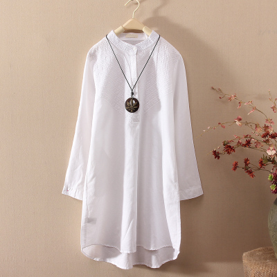 亚麻中长款套头衬衣2018春装白上衣中长款白色宽松棉麻长袖衬衫裙