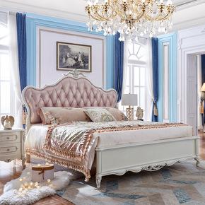 欧式床全实木1.8米双人床烤漆简欧1.5主卧奢华风格卧室真皮公主床