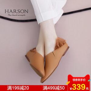 哈森 春季时尚休闲女鞋毛毛瓢鞋 平底单鞋 奶奶鞋HL73402