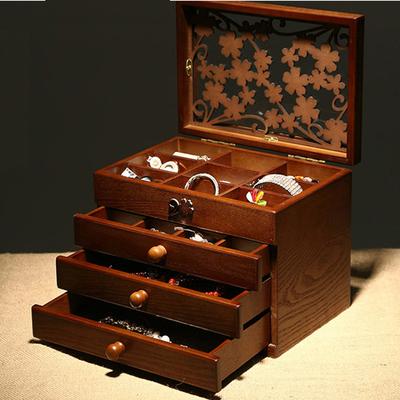 年年春木质首饰盒木制古典复古首饰品收纳盒多层抽屉式珠宝盒子