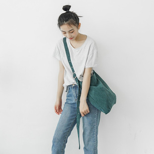 韩国原宿ulzzang单肩包帆布包女日系chic帆布袋斜跨包书包手提袋