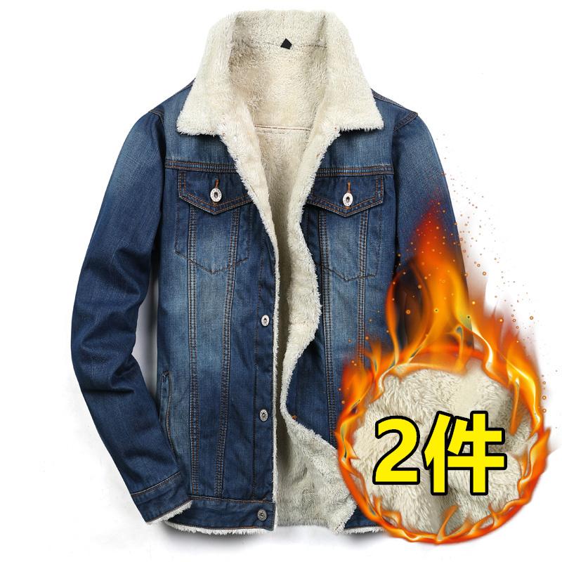 冬季加绒牛仔外套男修身加厚夹克韩版潮流青年棉衣棉服羊羔毛上衣图片