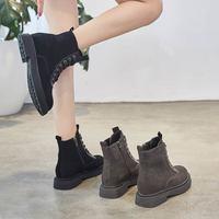 磨砂马丁靴女平底春秋休闲短靴2018新款粗跟单靴英伦风复古女靴