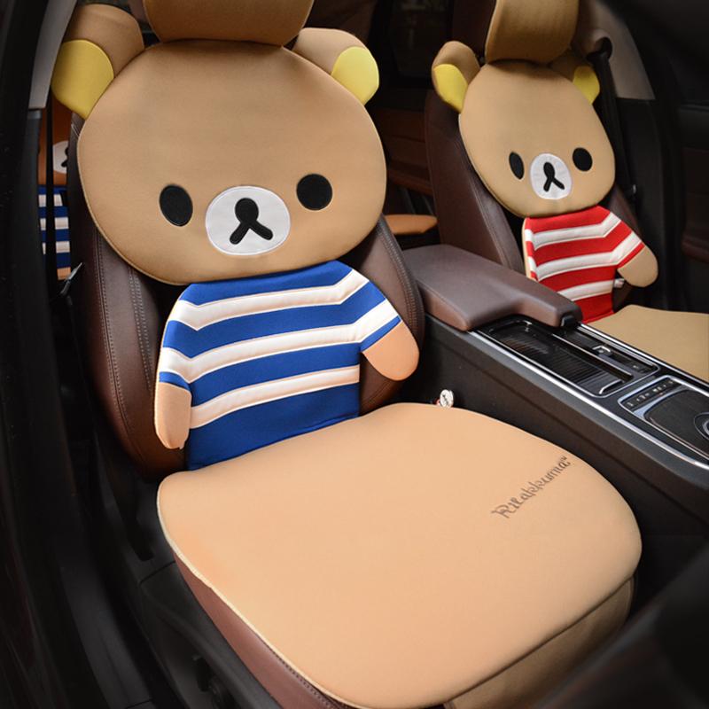 可爱汽车坐垫四季立体轻松熊布面半包围座垫女神款通用卡通车坐垫