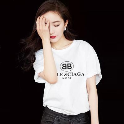 2018新款白色t恤女短袖字母印花韩版百搭明星同款hiphop上衣网红