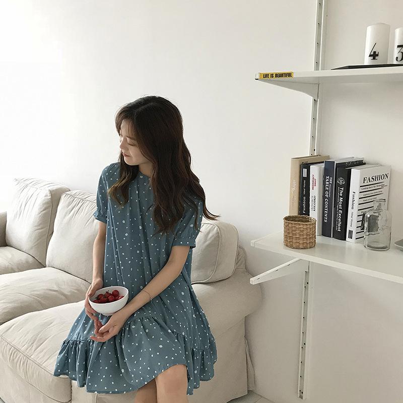 2018夏季韩版雪纺连衣裙波点荷叶边中长款短袖裙子女