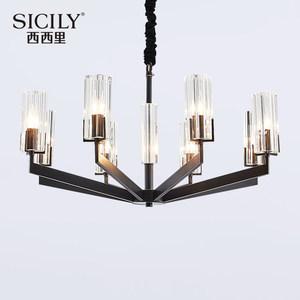 美式简约全铜客厅轻奢吊灯后现代卧室黄铜灯饰现代水晶餐厅灯具