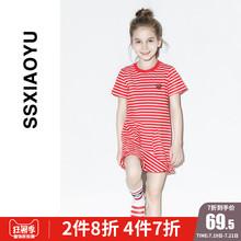 女童韩版 洋气裙子 条纹荷叶边连衣裙短袖 小鱼童装 时尚 2019夏新款图片