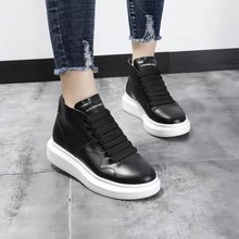 European women's shoes with thick sole and high upper, real cowhide, casual shoes, black board shoes, air permeability enhancement, sports and tourism small white shoes