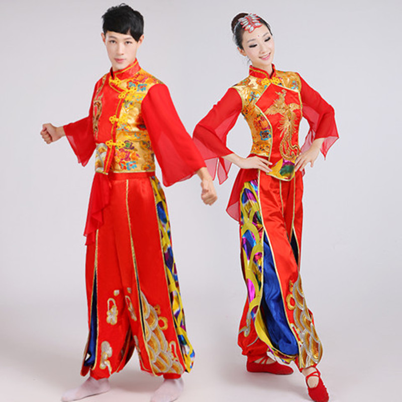 new style drum suit costumes for men and women adult Yangko clothing Chinese style ethnic water drums opening