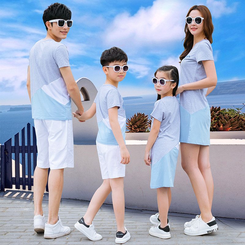 亲子装夏装2019新款时尚母女装一家三口母子全家装海边沙滩套装潮