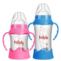Haoyi Beibei bottle glass newborn wide-angle shatter-resistant protective cover baby silicone straw anti-flatulence baby