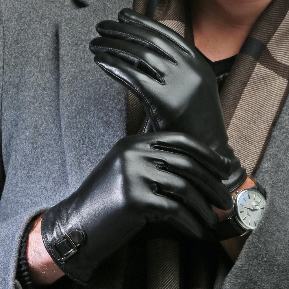 南极脸皮手套男冬季加厚绒里骑行开车摩托车保暖羊皮商务男士手套