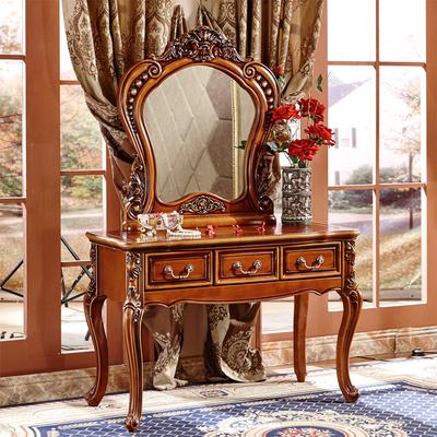 欧式梳妆台卧室化妆台美式梳妆台实木雕花复古别墅大小户型1.1米