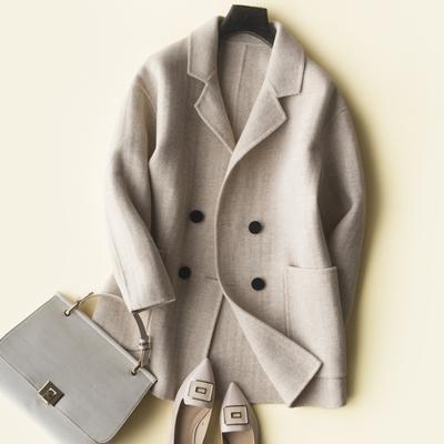 藏源鹿2018秋新款双面羊绒大衣女宽松大码短款双面呢韩版毛呢外套