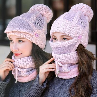 冬季女士帽子韩版潮时尚毛线帽保暖针织冬天防寒棉帽户外户外骑车