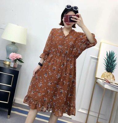 加肥加大码女装2018夏季新款韩版显瘦胖mm中长款碎花雪纺连衣裙潮