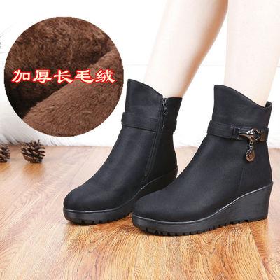 老北京布鞋冬新款长毛绒韩版时尚坡跟女短靴软底高帮女棉鞋女靴子