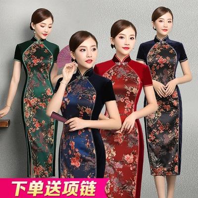 老上海东方贵族秋天旗袍长款长袖2018新款改良版金丝绒走秀连衣裙