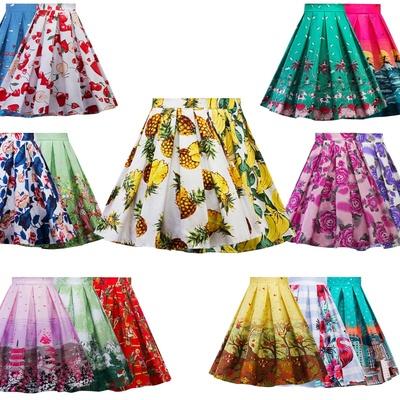 欧美复古风圣诞印花波点大码半身裙时尚显瘦百搭A字伞裙 20个花色