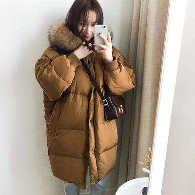 2018新款韩国chic复古学院风面包服宽松加厚大毛领中长款棉服外套