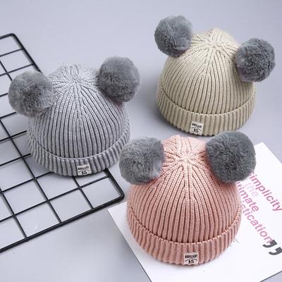 秋冬宝宝毛线帽子儿童加绒女童0婴儿1男童2女孩3韩版潮针织帽4岁