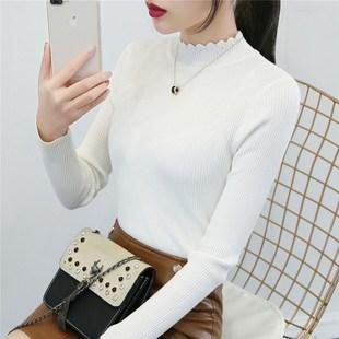 半高领白色毛衣女打底衫长袖套头线衣秋冬新款短款修身紧身针织衫