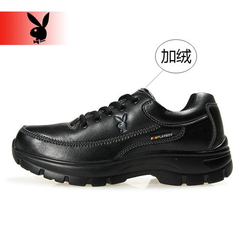 花花公子冬季加绒加毛保暖运动鞋 男款滑板鞋内增高防滑圆头皮鞋