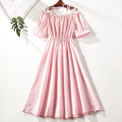 2018夏季新品甜美少女连衣裙女一字领条纹短裙0851-21