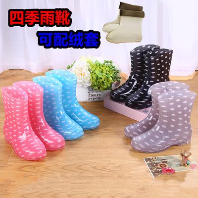 时尚加绒加棉雨鞋女成人短筒水靴厨房防滑防水鞋雨靴胶鞋保暖冬季