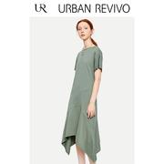 UR2018秋冬新品女装气质不规则裙摆皱褶A型连衣裙WH36S7AE2002